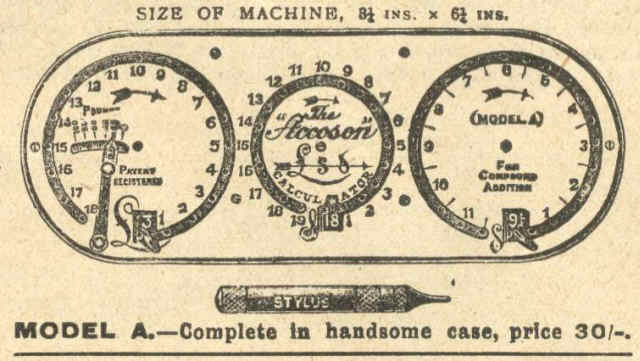 Accoson Calculator For Compound Addition Ad L .Grigg and Co. London (courtesy: V. Geppert)