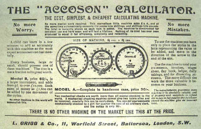 Accoson Calculator For Compound Addition Ad L .Grigg and Co. London (courtesy V. Geppert)