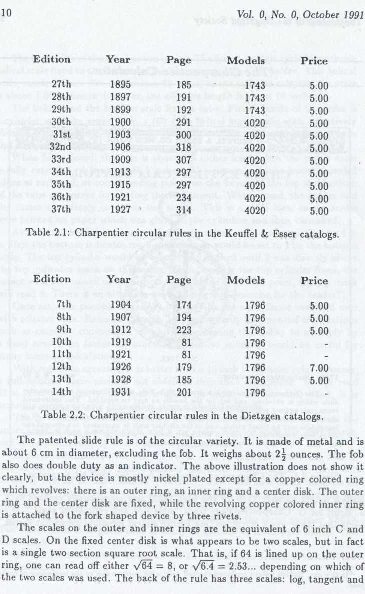 Charpentier Calculator Excerpt From the Journal of the Oughtred Society Vol 0 No. 0 1991 pg 10 by Bob Otnes