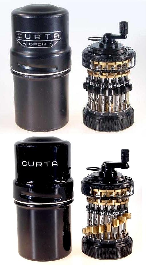 A Pair of Curta Demonstration Model Calculators with Containers