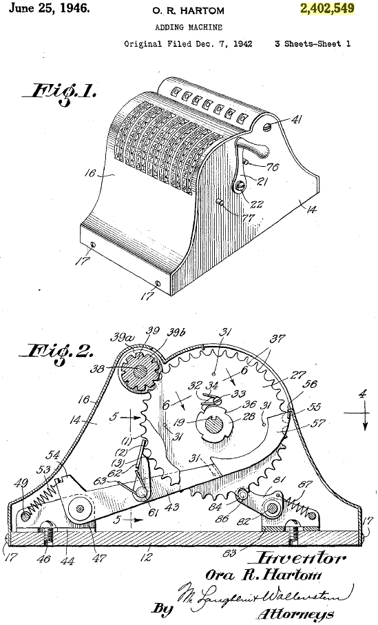 Precise Adding Machine Patent 2402549 O. R. Hartom Sheet 1 1946