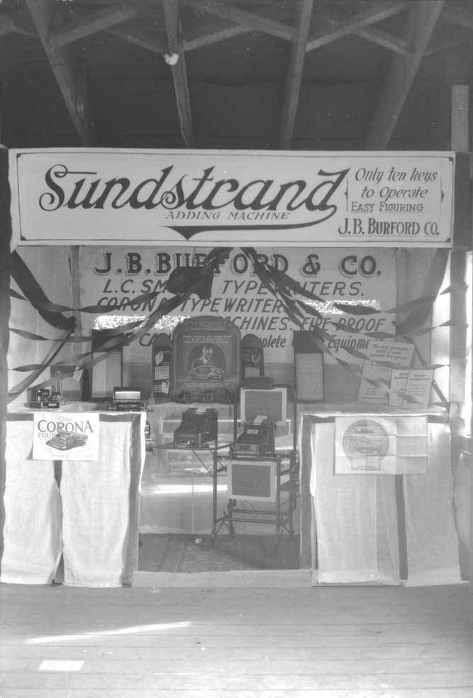 Sunstrand Adding Machine - Sunstrand Booth Period Photo (source vilda.alaska.edu)