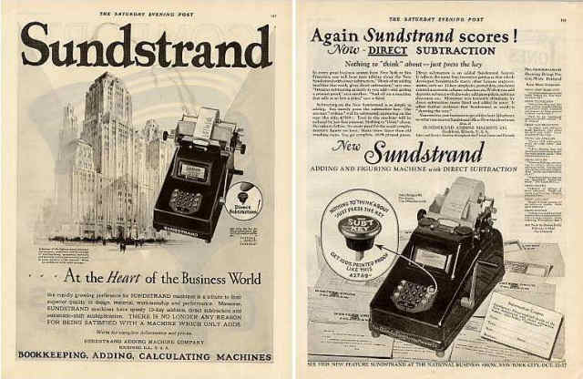 Sunstrand Adding Machine - Underwood Sunstrand 10 key Listing Machine with direct subtraction Saturday Evening Post
