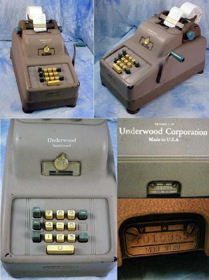 Underwood Sundstrand Model 9120 Adding Machine (source ebay)